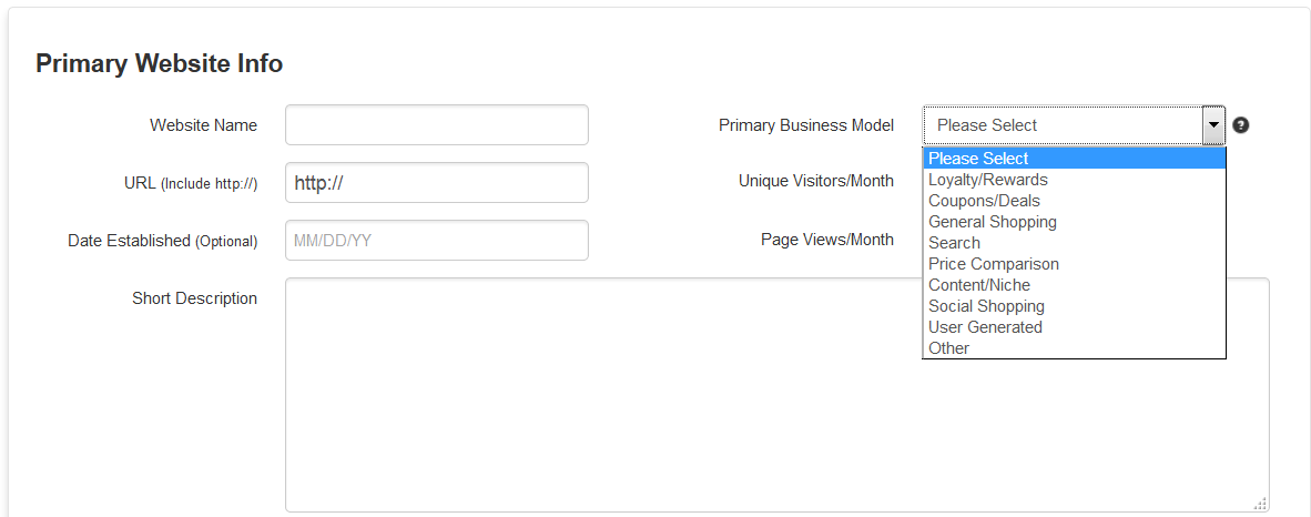 Which 'business model' should I select when I sign up as a ...